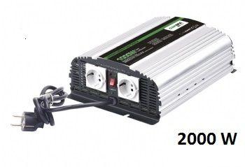 Měnič napětí Carspa CPS2000-122 12V/230V 2000W, čistá sinus, s nabíječkou 12V/15A a funkcí UPS