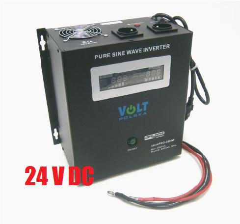 1800W/ 230V záložní zdroj sinusový, pro aku 24V, (na plochu/ na zeď) ZZ50 Připojení baterie: výchozí - oko na kabelu
