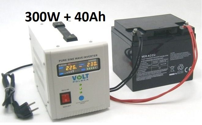 Záložní zdroj 300W sinus - ZZ20 + AKU 40Ah