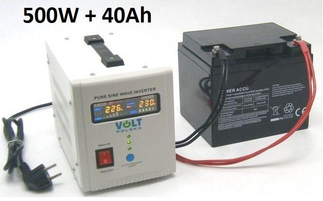 Záložní zdroj 500W sinus - ZZ22 + AKU 40Ah