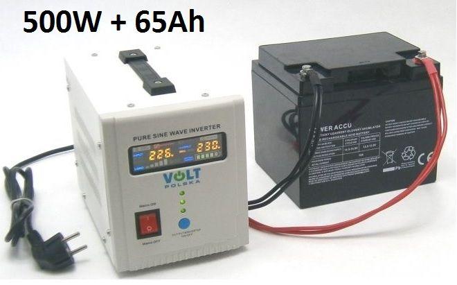 Záložní zdroj 500W sinus - ZZ22 + AKU 65Ah
