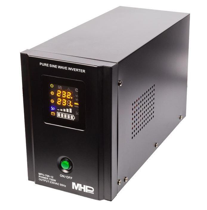 MH Power Záložní zdroj MHPower MPU-700-12, UPS, 700W, čistý sinus, 12V Připojení baterie: příslušenství - svorky pro startovací AKU