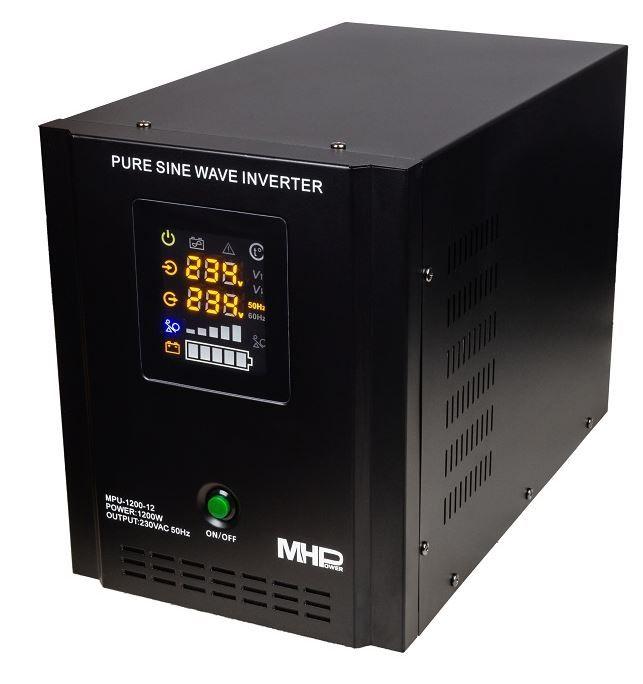 Záložní zdroj MHPower MPU-1200-12, UPS, 1200W, čistý sinus, 12V Připojení baterie: výchozí - oko na kabelu