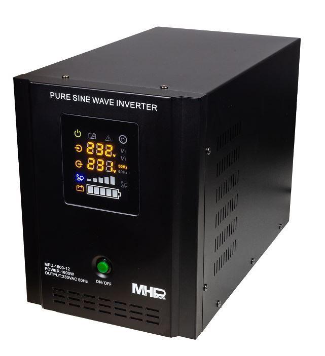 MH Power Záložní zdroj MHPower MPU-1600-12, UPS, 1600W, čistý sinus, 12V Připojení baterie: příslušenství - svorky pro startovací AKU