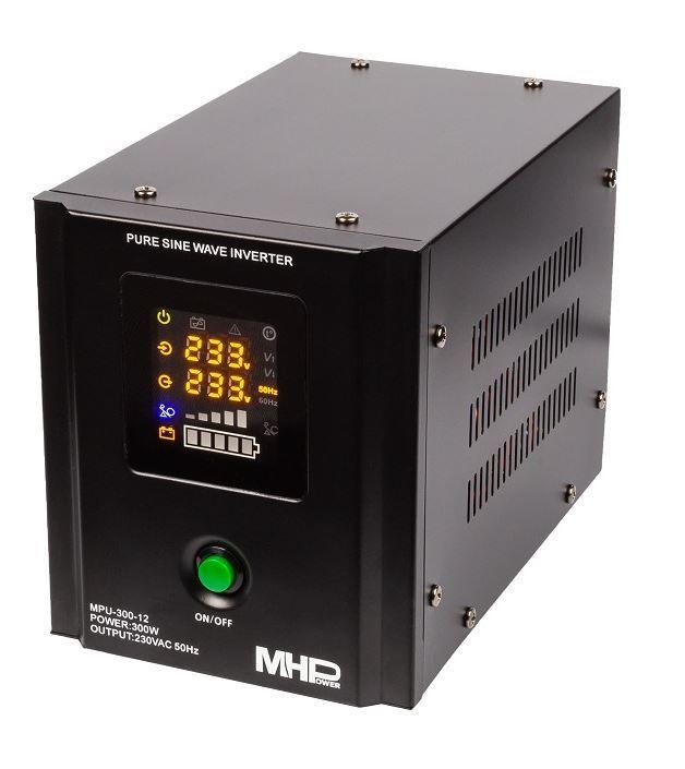 MH Power Záložní zdroj MHPower MPU-300-12, UPS, 300W, čistý sinus, 12V Připojení baterie: příslušenství - svorky pro startovací AKU