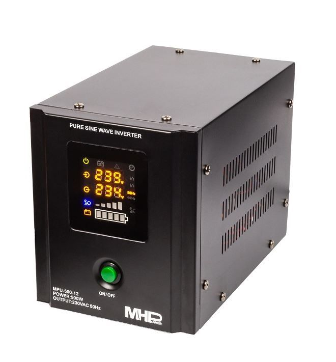 MH Power Záložní zdroj MHPower MPU-500-12, UPS, 500W, čistý sinus, 12V Připojení baterie: příslušenství - svorky pro startovací AKU