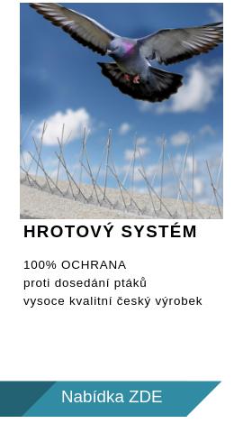 100% ochrana proti ptákům - hrotový systém