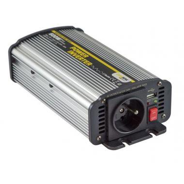 Měnič napětí CAR600U-122 12V/230V+USB 600W