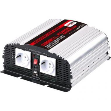 Měnič napětí Carspa MSD1200UR-242 24V/230V+USB 1200W, modifikovaná sinus, dálkové ovládání na kabelu