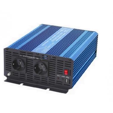 Měnič napětí Carspa P1500U-24, 24V/230V+USB, 1500W, čistá sinusovka