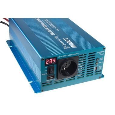 Měnič napětí Carspa SKD1000UR-242, 24V/230V+USB, 1000W, čistá sinus, display, dálkové ovládání