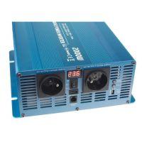 Měnič napětí Carspa SKD2000UR-122 12V/230V+USB 2000W, čistá sinus, display, dálkové ovládání