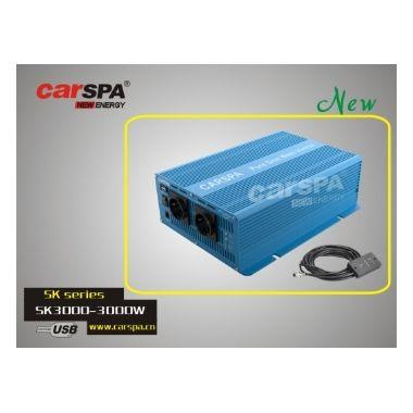 Měnič napětí Carspa SKD3000UR-242 24V/230V+USB 3000W, čistá sinus, dálkové ovládání