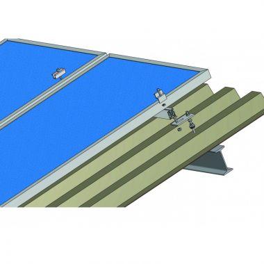 Nosná konstrukce FV panelu – šikmá střecha – plech (ocelové nosníky)