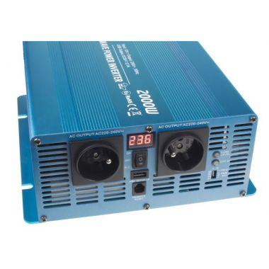 Sinusový měnič napětí 35psw2012D, 12/230V, 2000W, displej