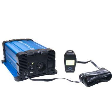 Sinusový měnič napětí 35psw612DR, 12/230V, 600W, dálkové ovládání s displejem