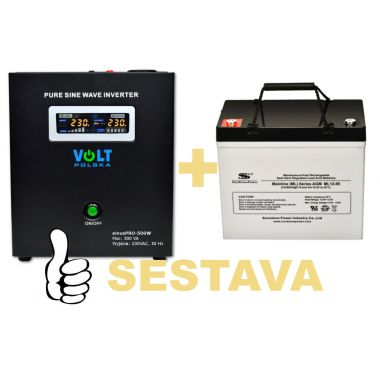 Záložní zdroj 300W, sinusPRO-500W + AKU 55Ah