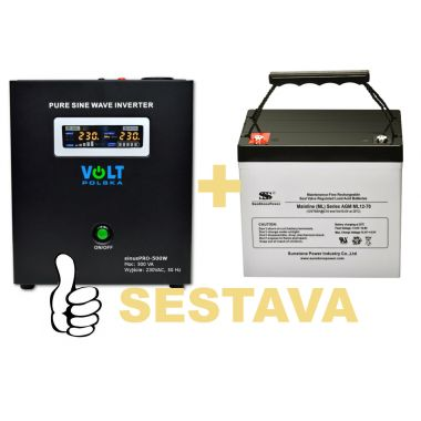 Záložní zdroj 300W, sinusPRO-500W + AKU 70Ah