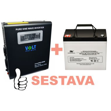 Záložní zdroj 500W, sinusPRO-800W + AKU 55Ah