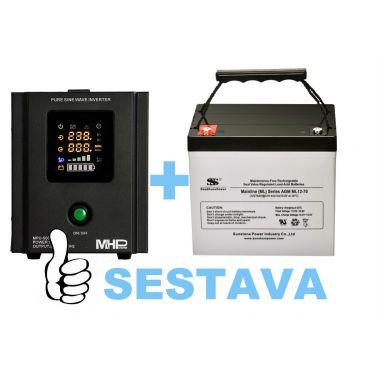 Záložní zdroj MHPower MPU-500-12 + baterie ML12-70